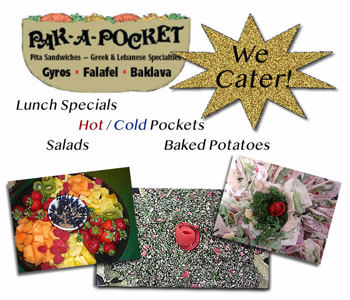Pakapocket Caters, call 817-735-4363